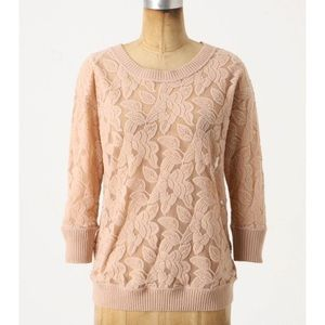 Anthropologie Eloise Brushed Lace Pullover